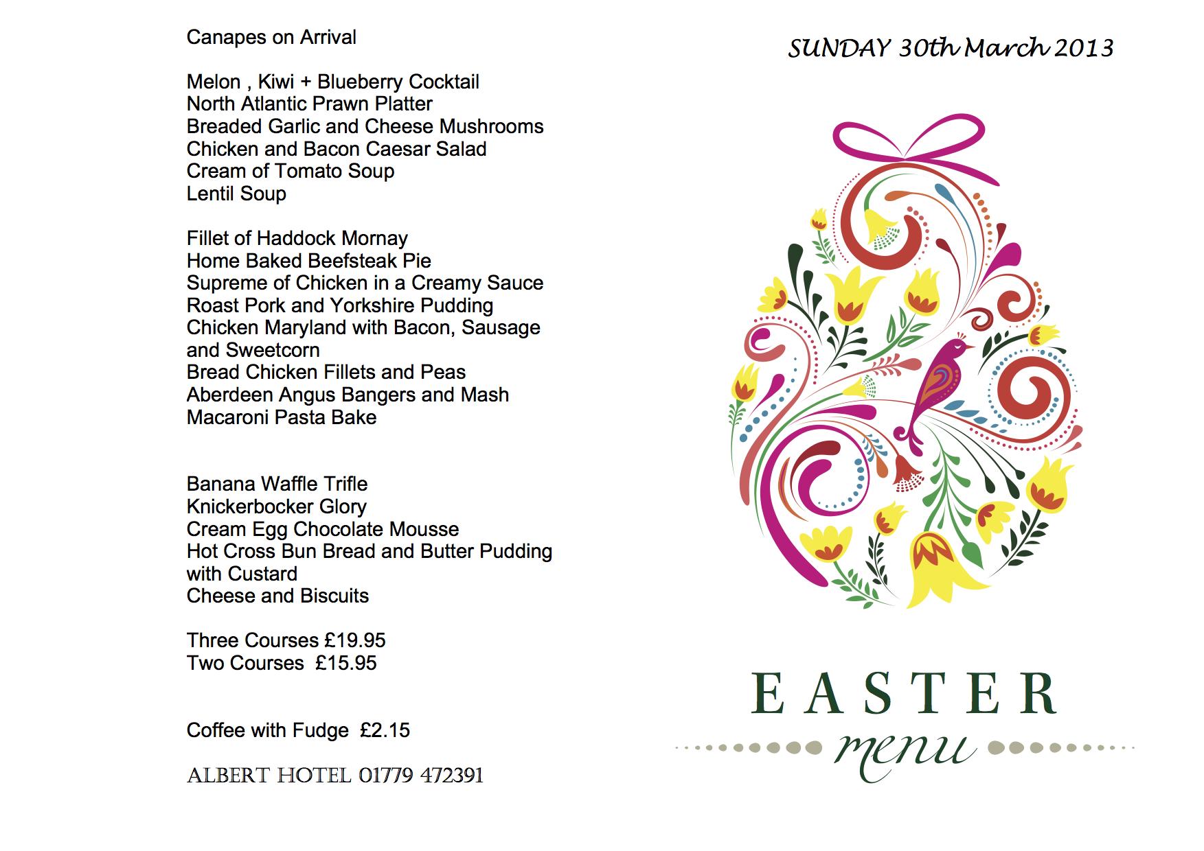Peterhead restaurant albert hotel peterhead for Easter brunch restaurant menus